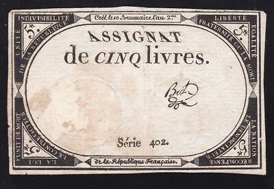 France ----- 5  Livres  Banknote ---- Assignat -----F----