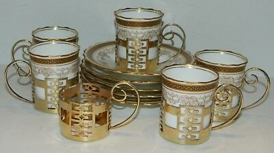 1920 Aynsley A223 - 5 Demitasses & Saucers w/ 6 Goldwash Sterling Silver Holders