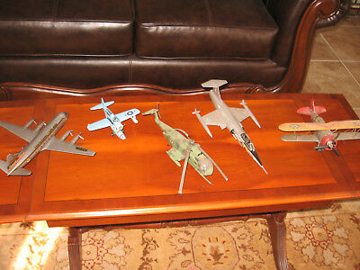 LOT OF 5 VINTAGE MILITARY WW2 model PLANE LOT PLANES/HELICOPTER PARTS/REPAIR