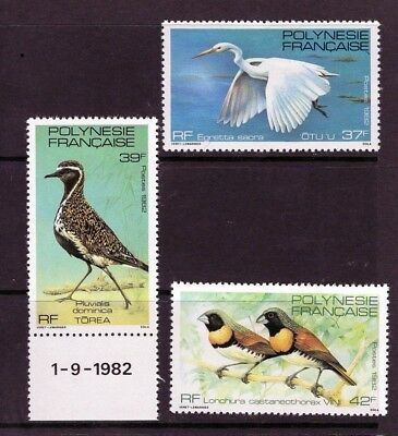 Fr.Polynesia 1982 set of 3 BIRDS Mtd MINT