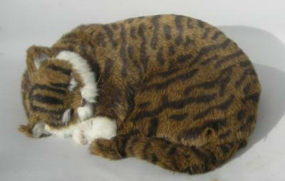Realistic sleeping tabby cat toy ornament fun markings