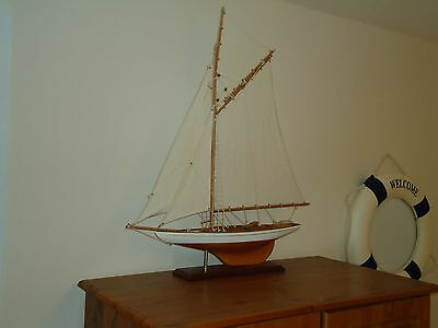 Large Model Lulworth Yacht 72cm On Stand Hand Made Wooden -maritime Ship Boat.