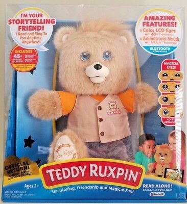"""2017 TEDDY RUXPIN Bluetooth Connect with LED Eyes Animated 14"""" inch Stuffed Bear"""