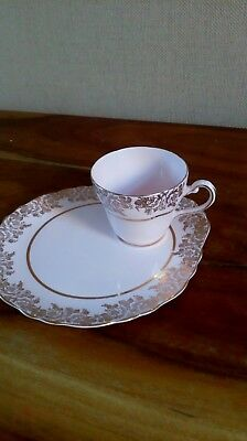 vintage pink and gold Tuscan tennis plate Afternoon Tea and Cake Tea Cup