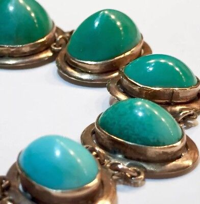 15k BIG cabs untreated Turquoise Victorian to Art Deco 15k rose gold bracelet