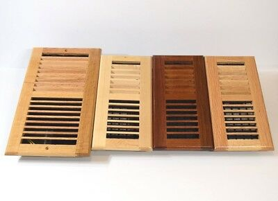 "Decor-Grates-Floor-Register-Solid Wood-Natural-Air-Vent-Louvered,Size, inch""."