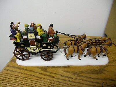 """Dept 56 Heritage Village """"Holiday Coach"""" Christmas Carriage Horse #55611 w/ Box"""
