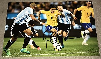 Philippe Coutinho Hand Signed Brazil Photo 17/18 12x8 *proof* Liverpool Fc