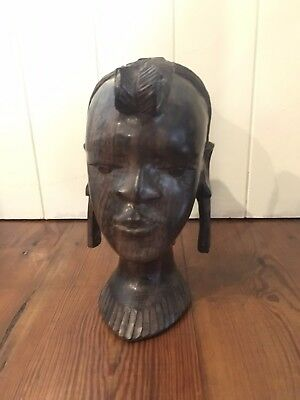 19 th century Carved ironwood bust of a Tribal woman 23cm H