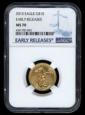 *PERFECT*  2015 1/4 oz $10 Gold American Eagle Coin - NGC MS 70 Early Releases