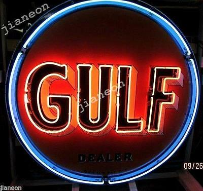 24X24 Old Gulf Dealer Gas & Oil REAL GLASS NEON SIGN BEER LIGHT Lighted Backing