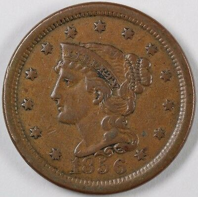 1856 N-10 Upright 5 Braided Hair Large Cent 1C