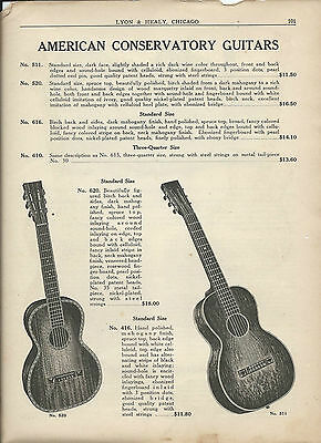 1922 Lyon & Healy Amercican Conservatory Parlor Guitar Catalog page