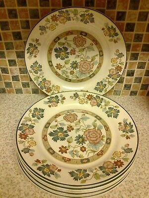 Staffordshire Franciscan Orient Dynasty Collection 6 X Dinner Plates
