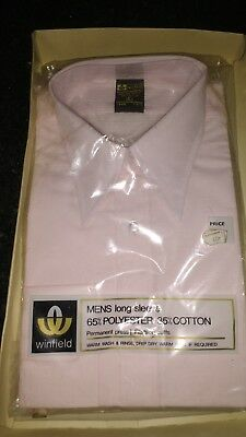 Gents Vintage Pink  Shirt By Winfield Size 16.5 Collar (42Cms) Regular Fitting