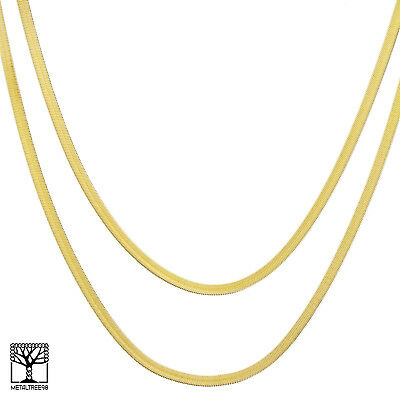 """Men's Bling 14K Gold Plated 4 mm 20"""" / 24"""" Double Herringbone Chain Necklace"""