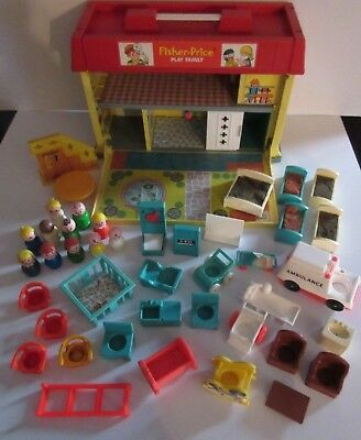 Vintage Fisher Price Little People Play Family CHILDREN'S HOSPITAL Lot Furniture
