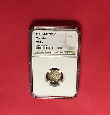 Great Britain -Uncirculated  1900 Maundy Silver 3 Pence  Ngc Ms65.