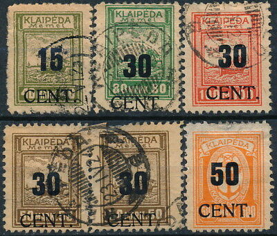 Memel Lithuania 1924, Scarce Lot Of 5 Different Used Values, One In Pair  #t973