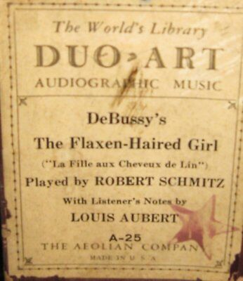Audiographic Duo-Art Piano Roll A-25 Debussy's Flaxen Haired Girl