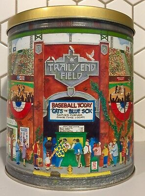 Trails End Metal Popcorn Tin Colorful Life Retro Art Baseball Game Sport Stadium