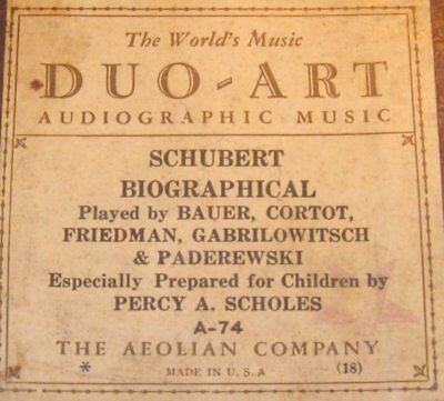 Audiographic Duo-Art Piano Roll A-74 Schubert Biographical Roll