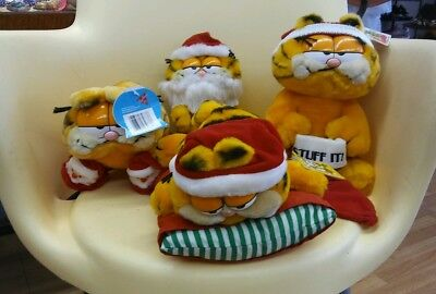Garfield Plush vintage dolls. Lot of 4. Christmas
