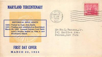 736 3c Maryland, First Day Cover Cachet [E278660]