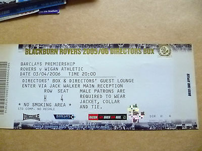 Ticket- 2006 ROVERS v WIGAN ATHLETIC, Barclays Premiership, 3 April