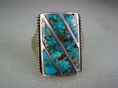 VINTAGE ZUNI STERLING SILVER & CHANNEL INLAY TURQUOISE RING sz 10.5