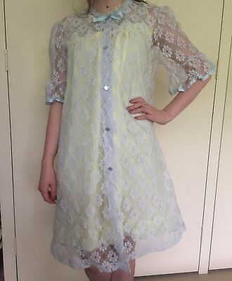 Vintage 1960s pale blue lace bed jacket / nightgown cover w/ribbon detail