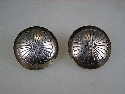 Authentic OLD Fred Harvey shop NAVAJO STAMPED STERLING SILVER BUTTON EARRINGS