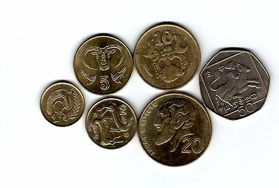 Cyprus 6 coins type 1 2 5 10 20 50 cents set 1993-2004 pre-euro