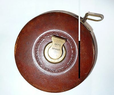 John Rabone and Sons Vintage Leather Cased Tape Measure 66 Ft No.400