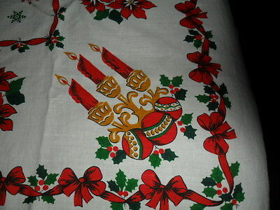 """Vintage Christmas Tablecloth-3 Burning Candles,poinsettia,red Bows  -58X78"""""""