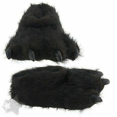 Wishpets Large Size Unisex 10-14 Black Bear Animal Paw Plush Fuzzy Slippers