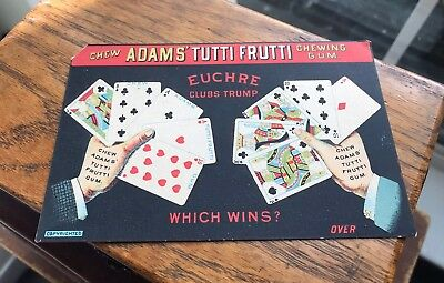 Vintage Early Old Adams' Tutti Frutti Chewing Gum 1890 Victorian Trade Card