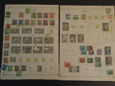 Iceland Collection On Album Pages Very Old Mh/used Stamps