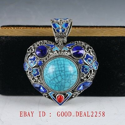 Chinese Delicate Cloisonne Inlaid Turquoise Pendant  JDZ04