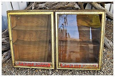VTG Rare? BIG SIOUX BISCUITS Store WALL Counter DISPLAY SHELF Wood,Tin & Glass