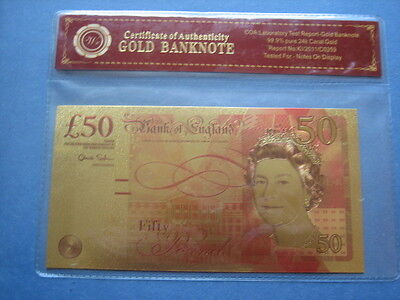 24K Gold Plated Colourised £50 Fifty Pound Bank Note + Coa+ Case Watt Boulton