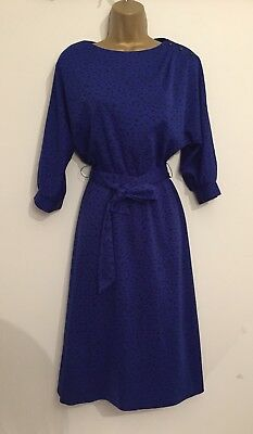 Littlewoods Size 12 Vintage 80s Sheath Dress in Blue with Black pattern (1225)