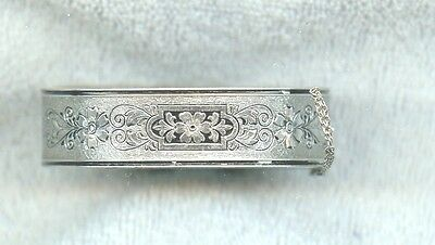 Victorian Signed Bb Sterling Silver Hinged Bangle Mourning Bracelet