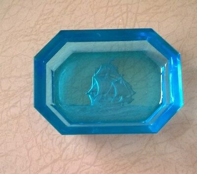 Bright blue Hoffman intaglio Open salt cellar Many masted sailing ship Excellent