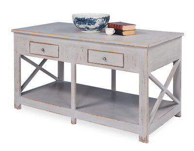 "63""L  French Country Grey Whitewash Kitchen Island ,X Design with 4 Drawers"