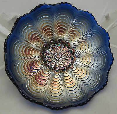 """1900's FENTON PEACOCK TAIL SAW TOOTH EDGE CARNIVAL GLASS BOWL-6.5"""" Wide x 2""""Tall"""