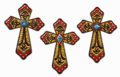 "Southwest Western Wall Cross Set Turquoise Crystal Crucifix 9""x 6"" Western Decor"