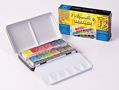Sennelier - Watercolor Metal Box 12 Half Pan Set