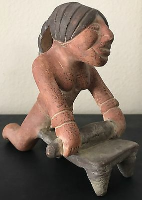 Mexican Terra Cotta Red Clay Folk Pottery Mayan Woman Female Grinding Corn Maize