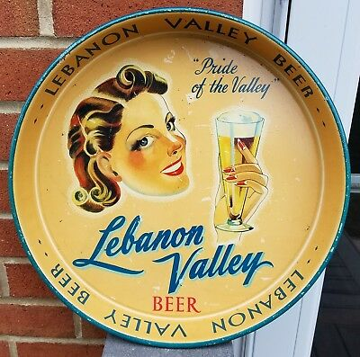 1930's Lebanon Valley Beer Beautiful Girl Pride Of The Valley Tray Pennsylvania
